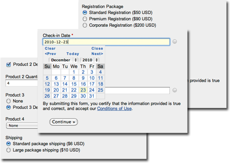 Create a registration form or order form with the HTML form generator