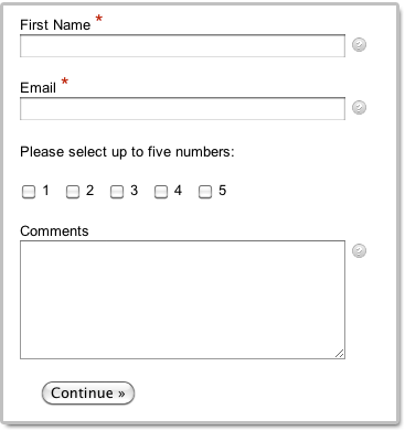 Online form put all checkboxes on one row